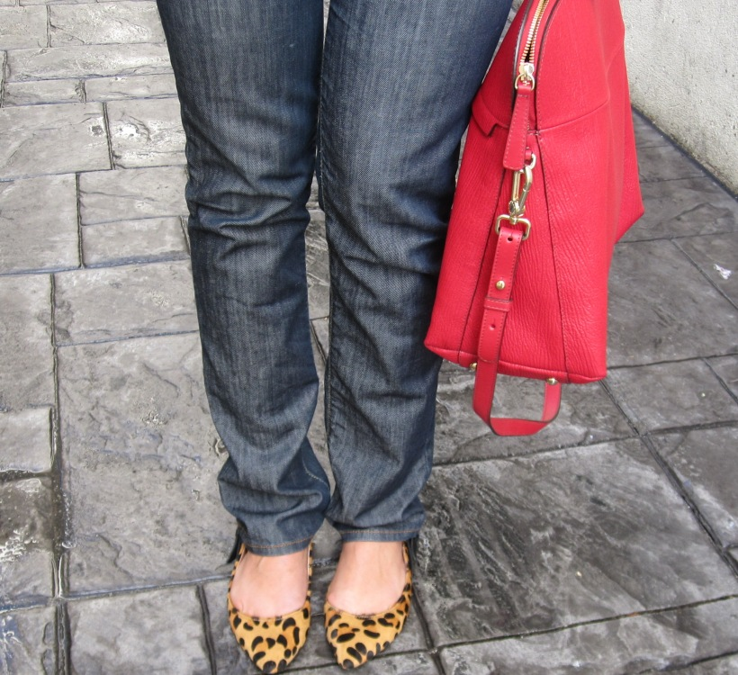 leopard print flats, cheetah print flats, animal print flats with jeans and red purse, red furla handbag, red handbag, houndstooth and animal print