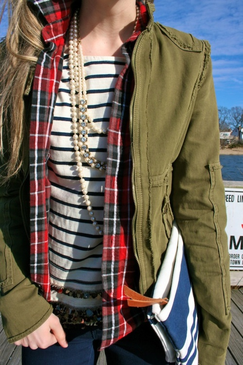 mixing patterns plaid stripes camo