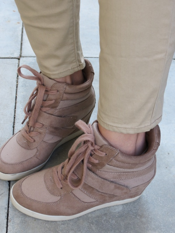 wedge sneakers tan