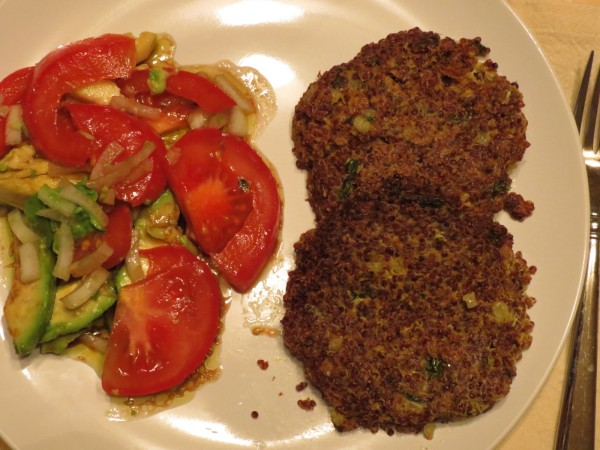 tomato avocado salad with quinoa cakes