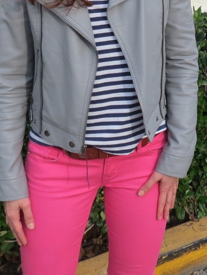 pink skinny jeans, blue & white striped tee and gray moto jacket from top shop