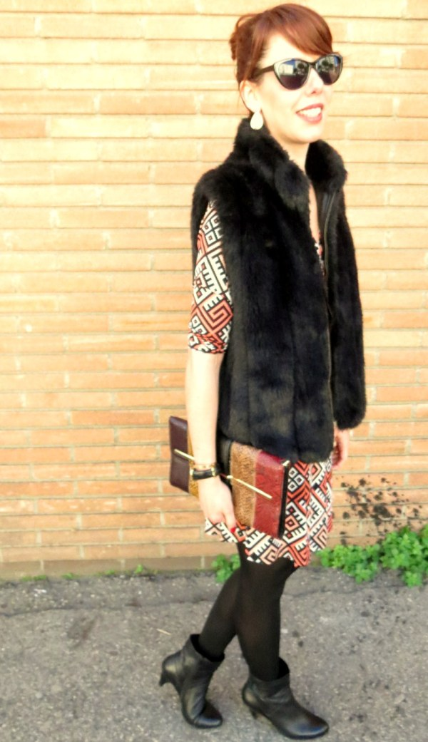 wrap dress with fur vest