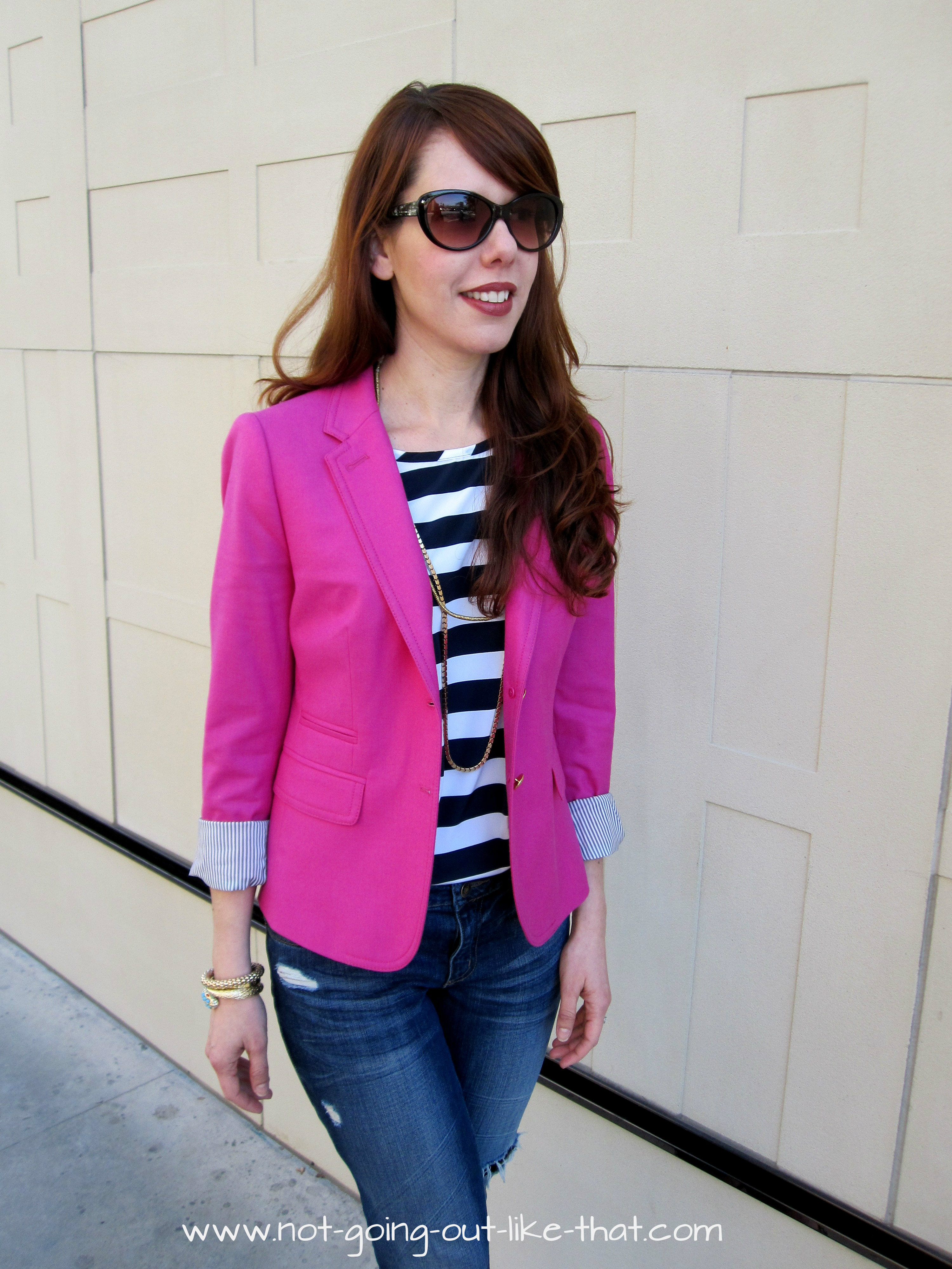 navy striped top with pink blazer not going out like that. Black Bedroom Furniture Sets. Home Design Ideas