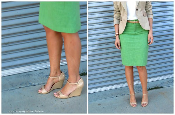 green skirt collage
